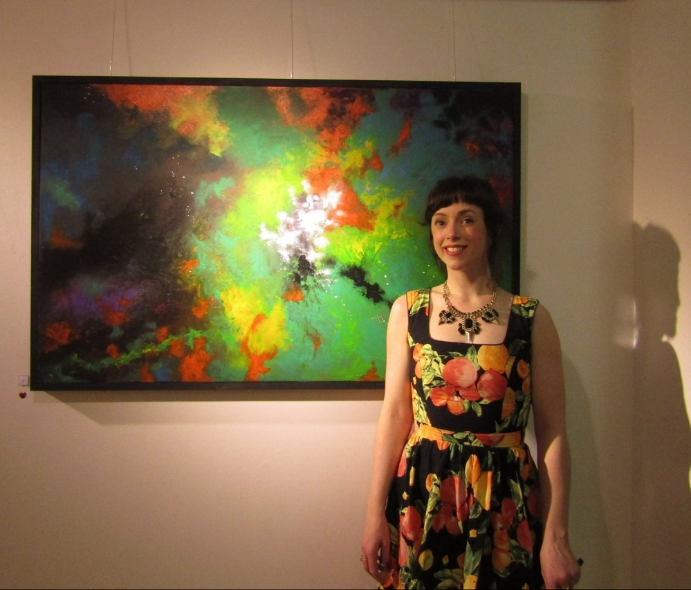 Artist with her painting 'Domus' at her Solo Exhibition - Room 22 -February 2016